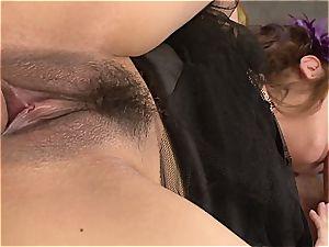 Mami Asakura gets a double portion of jizz