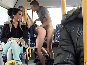 Lindsey Olsen humps her fellow on a public bus