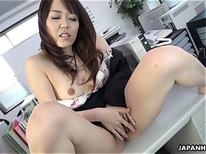 Office bi-atch fumbles her moist pussy on the table