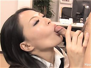 assistant plays with his schlong with her gullet and soles