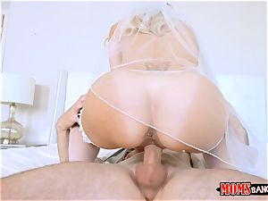 ultra-kinky cougar in her wedding dress Brandi enjoy gets her honeypot thrashed with nubile Bella Rose and her beau