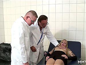 3 way rectal checkup for German blonde