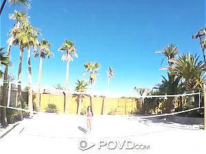 POVD Backyard badminton ass fucking ravage with Anissa Kate