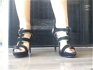 Capri shows off her handsome soles & tries on some heels