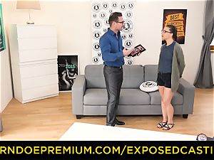 unveiled audition - uber-cute nerdy babe humped on audition