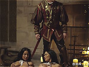 Alluring Anissa Kate and Jasmine Jae obey the king's will and man meat