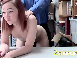 April gets down on her knees to receive officers fat salami